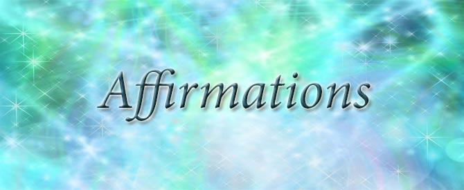 The word Affirmations on colourful background