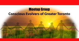 Conscious Evolvers of Greater Toronto Meetup Group Icon. Silhouette of people holding hands with sunset in background.